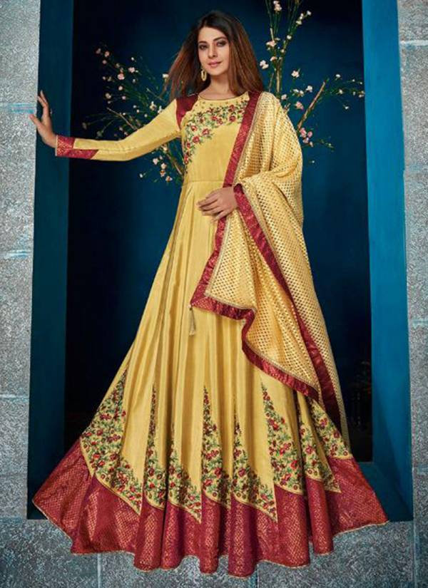 Vamika Janifer Vol 1 Series 9001-9005 Georgette & Satin Designer Embroidery Work Long Anarkali Suits Collection