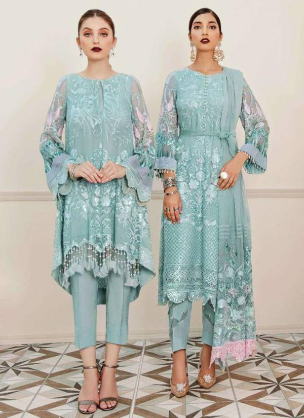 Rinaz Fashion Jazmin Vol 13 Series 4101-4104 Faux Georgette With Heavy Embroidery Work Pakistani Suits Collection