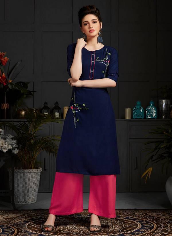 Banwery-Kangana-Series-1001-1006-Airjet-Rayon-Stylish-Look-Festival-Wear-Kurti-With-Palazzo-Collection