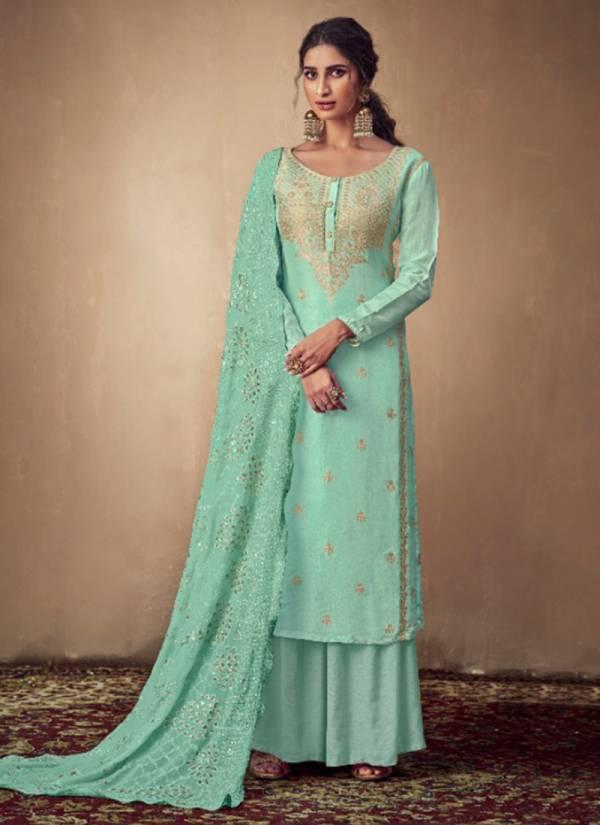 Karma Series 666-671 Stylish Pure Banarasi Jacquard Top And Georgette Lakhnavi Work Dupatta Festival Wear Suits Collection