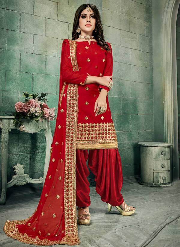 Phillauri Vol 21 Kesari Exports Series 2101-2104 Chanderi Silk Stylis Patiyala Style Festival Wear Salwar Suits Collection
