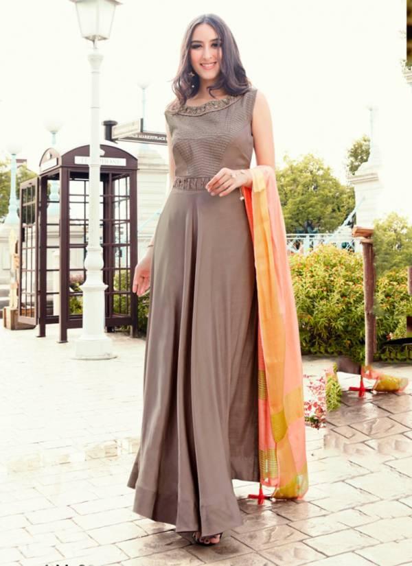 KVS Kingdom Series 801-802 Soft Muslin Hand Work Long Designer Party Wear Kurti With Dupatta Collection