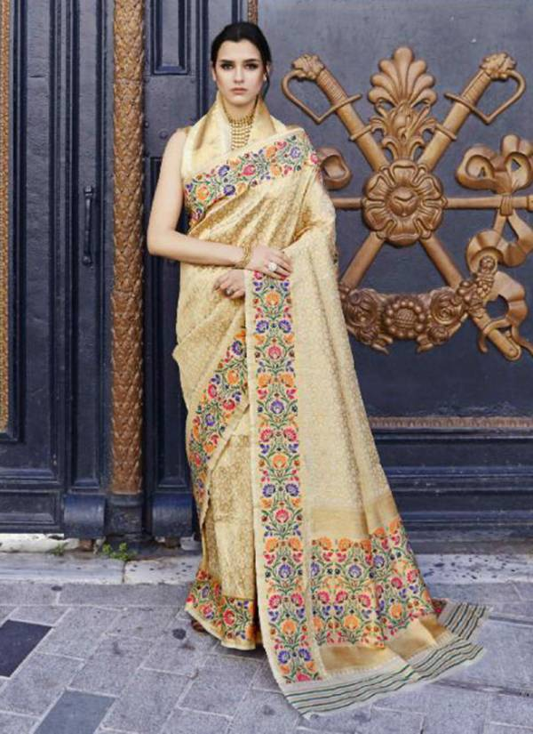 Krystila Silk Handloom Weaving Stylish Look Designer Party Wear Sarees Collection 115001-115006