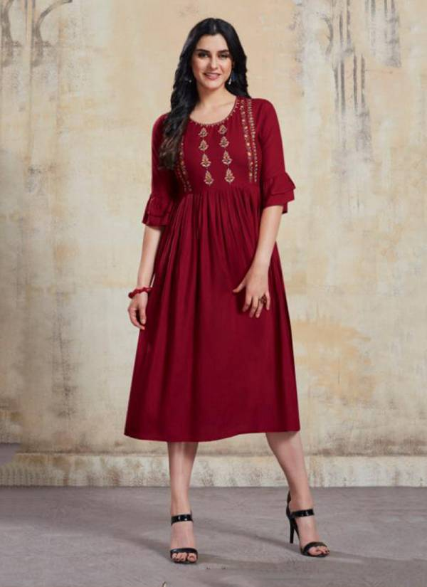 La-Bella Vol 1 Rayon Slub With Embroidery Work Long Trendy Look Kurti Collection 1001-1007