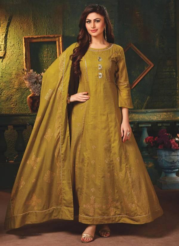 Kiana Ladli Series 01-06 Cotton Mal Mal Floor Length Long Hand Work Gold Foil Print Kurti Collection