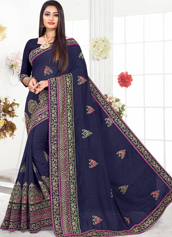 Ladys Ethnic Vichitra Silk With Latest Embroidery Work Designer Sarees Collection 2801-2808