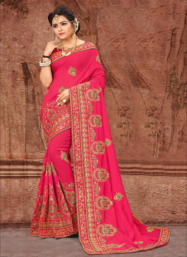New Designer Vichitra Silk With Embroidery Work Party Wear Sarees Collection 2901-2908