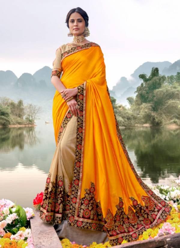 Kalista Fashion Lemon Vol 1 Series 5895-5900 Vichitra Silk Stylish Lace Fancy Sarees Collection