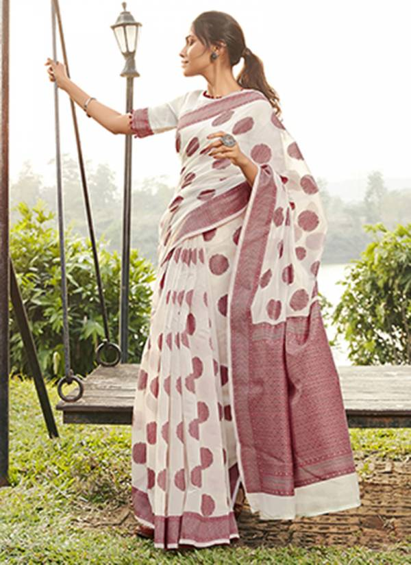 Kalista Fashion Lt Aastha Series 1041-1045 Cotton Jacquard With Printed Work Fancy Sarees Collection
