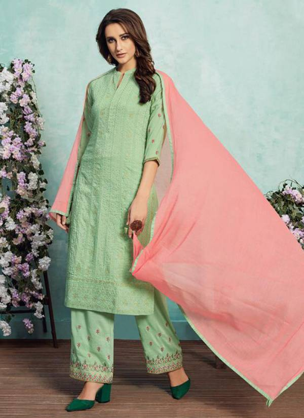 Neha Fashion Lucknowi Nelly Series 2023-2027 Chinon Silk With Cotton Inner Lucknowi Embroidery Work Party Wear Readymade Suits Collection