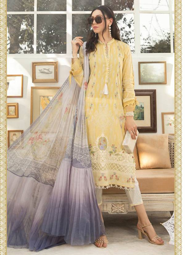 M Print Vol 2 Pure Cotton Digital Print With Embroidery Work Top Bottom Cotton Solid With Chiffon/Cotton Mal Digital Print Dupatta Pakistani Suits Collection 301-308