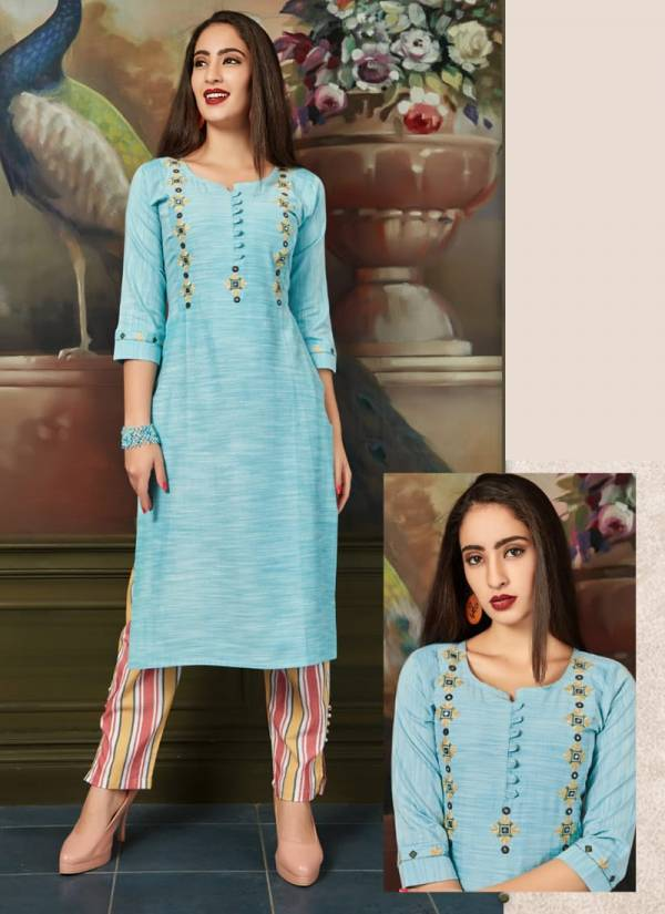 Tips-&-Tops-Madina-Series-01-04-Heavy-Cotton-Embroidery-Work-Designer-Party-Wear-Kurti-With-Pant-Collection
