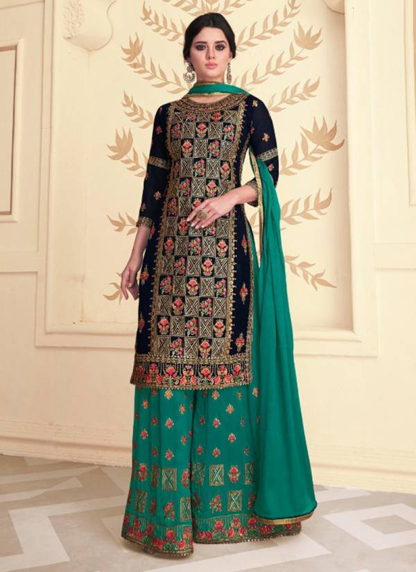 Kaara-Maharani-Series-101-104-Faux-Blooming-Georgette-With-Heavy-Embroidery-&-Fancy-Diamond-Work-Salwar-Suits-Collection