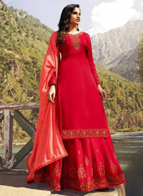 RSF Mandora 3 Series 17501-17506 Pure Stain Georgette Silk With Heavy And Hand Work Long Suits With Extra Bottom Material Collection