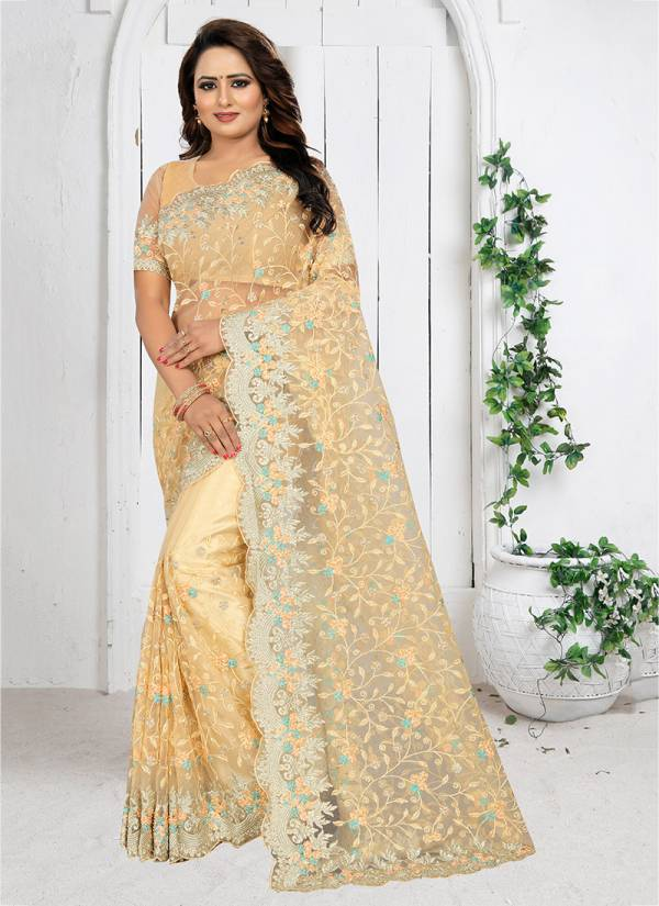 Marvellous Net Heavy Resham Embroidery Work With Siramic And Work Blouse Sarees Collection 531-538