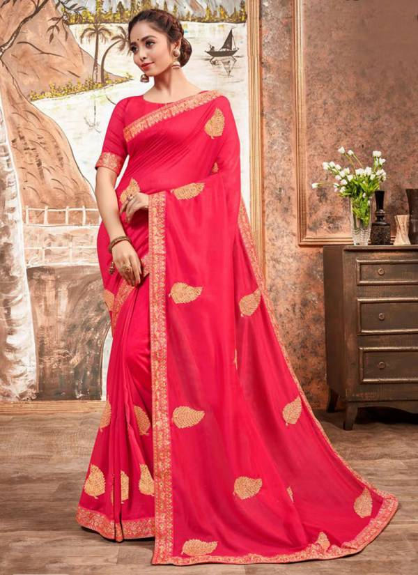 Saroj Mehandi Series 108001-108006 Vichitra Silk With Butta Work Festival Wear Latest Sarees Collection