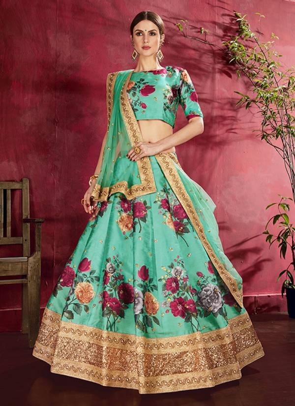 Mehnaz Latest Designer Art Silk Flower Print Lehenga Choli Wedding Wera Collection