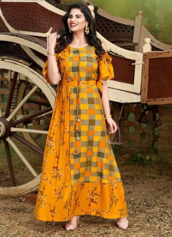 Yami Fashion Menka Series 981-988 Muslin Modal Two Tone Long Fancy Kurti Collection