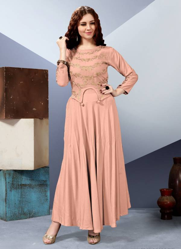 Milano Readymade Rayon Dyed With Embroidery Work Designer Long Kurti Collection 101-106