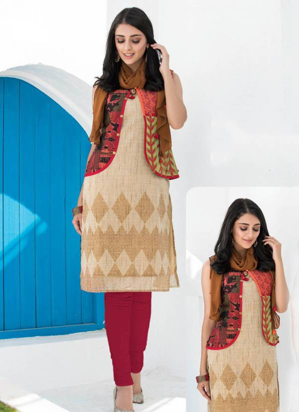 TZU Nancy Kurti Series 1-6 Cotton,Rayon & Georgette New Designer Stylish Look Kurti With Scarf Collection