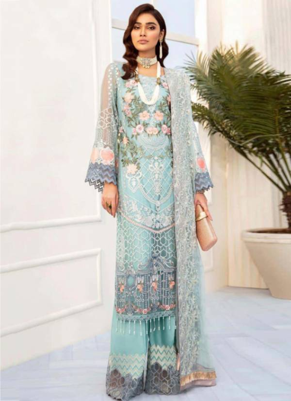 Nayaab Heavy Net And Faux Georgette Embroidery Work With Pearls Moti With Hand Work Pakistani Suits Collection 54001-54004