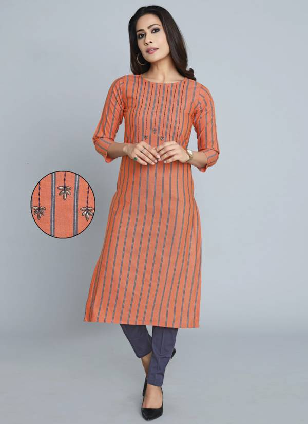 Ndira Apparel Shimmer Series 3701-3706 Blended Premium Cotton With Embroidery Work Office Wear Casual Kurti Collection