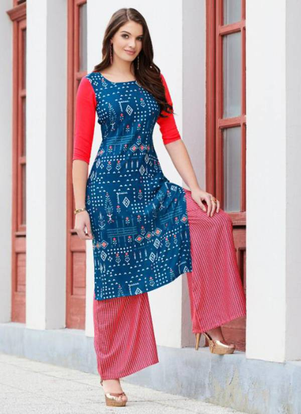 Neith Heavy Rayon Digital Print Kurti With Stylish Palazzo Collection 6001-6007
