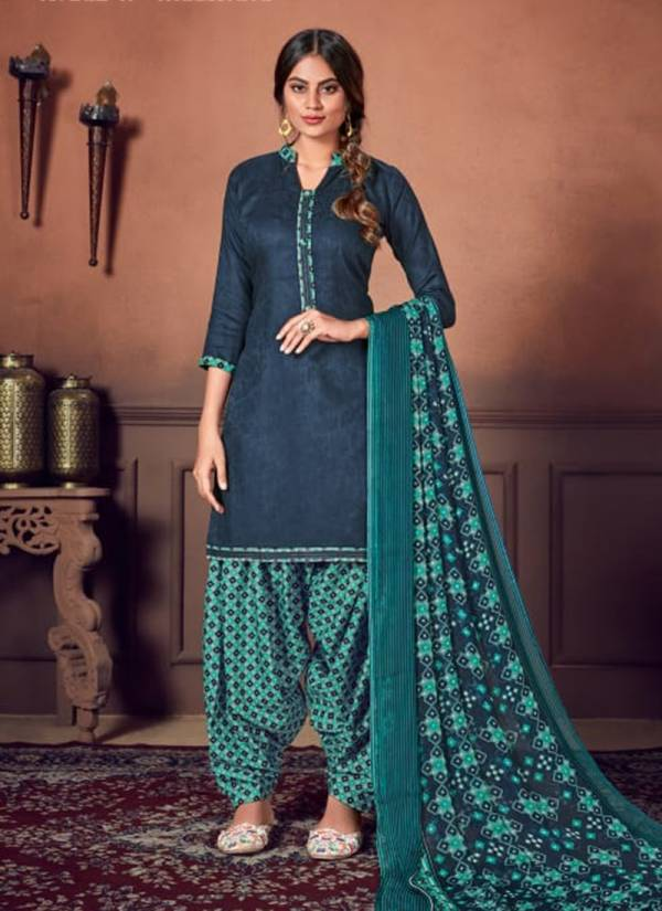 Noor-E-Patiyala Pure Jam Jacquard With Stiched Tie And Fancy Button Top,Soft Cotton Digital Style Patiyala Print Bottom With Nazneen Chiffon Print Fancy Dupatta Patiyala Suits Collection 619-001 - 619-010