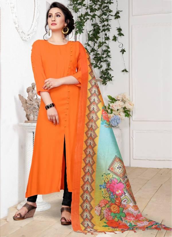 Jugnii Noor Vol 2 Series 1001-1008 Viscose Rayon Kurti With Digital Silk Dupatta Regular Wear Collection