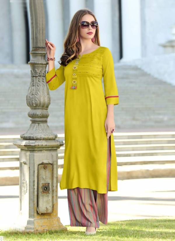 Mittoo Panghat Vol 13 Series 2084-2089 Heavy Rayon Embroidery & Hand Work Designer Kurti Palazzo Collection