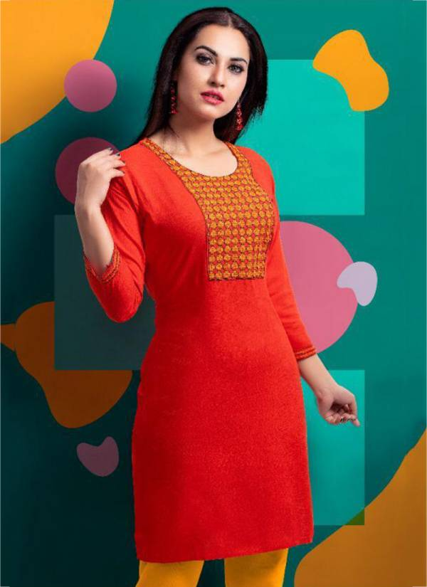 Pari Vol 1 Rayon Slub With Embroidery Work Fancy Kurti Collection 601-610
