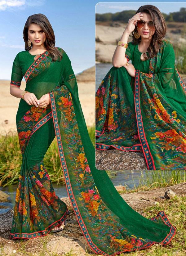 Radha Rani Georgette Print With Exclusive Printed Boder Sarees Collection 1001-1008