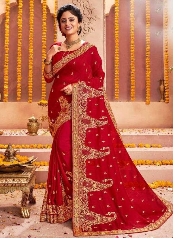 Saroj Rajdhani Series 142001-142006 Traditional Wear Vichitra Silk With Jari Work With Swarovski Work Sarees Collection