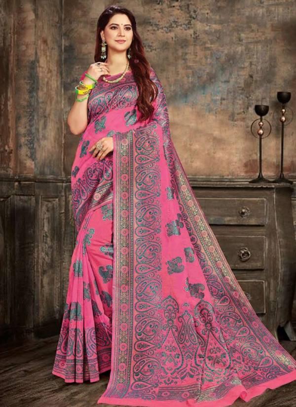 Saroj Rajvanshi Series 1001-1004 Cotton Silk Jacquard  With Rich Pallu Festival Wear Saree Collection
