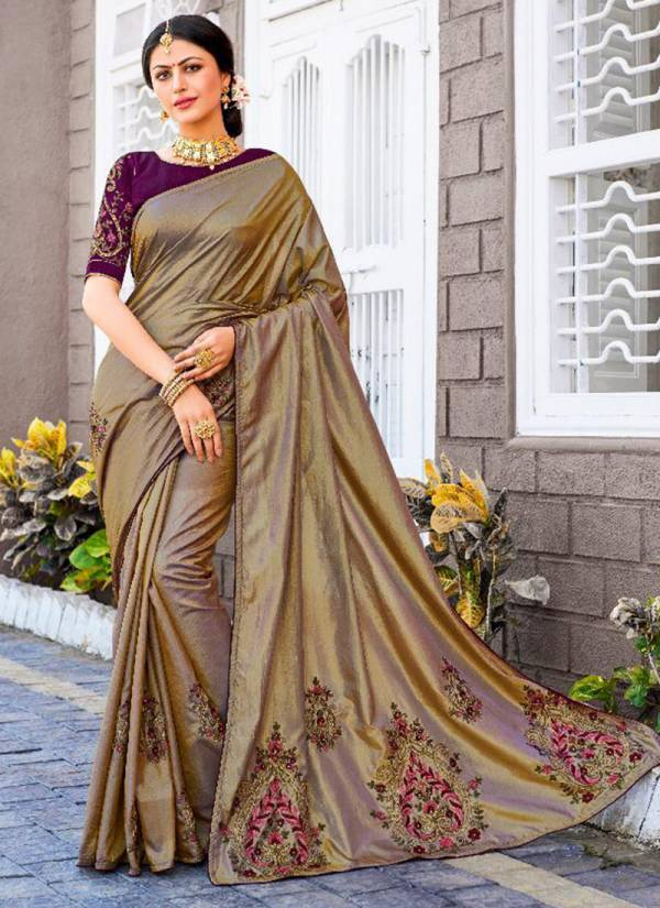 Raazi Sana Silk With Embroidery And Stone Daimond Work Traditional Sarees Collection 10701-10710