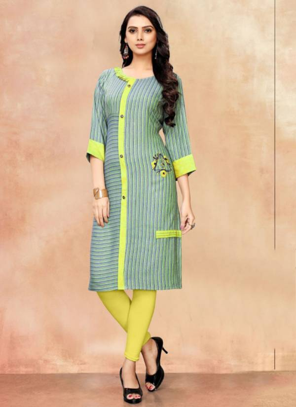 Rihanna Rayon Print Two Tone With Hand Embroidery Work Exclusive Kurti Collection 101-106