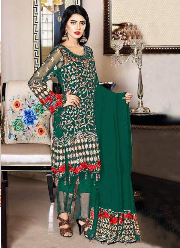 New Designer Faux Georgette With Heavy Embroidery Work Top Dull Santoon Inner / Bottom With Nazneen Heavy Dupatta Pakistani Suits Collection 1058 A-1058 D