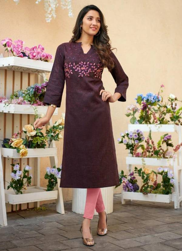 Riva Vol 4 New Designer Two Tone Cotton Slub With Classic Embroidery Work Kurti Collection 401-412