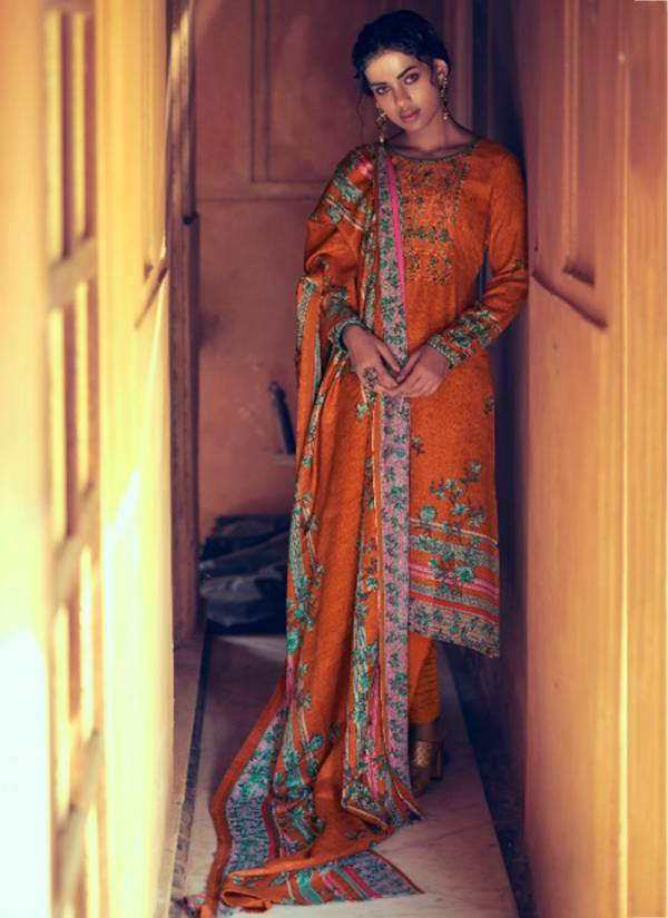 Winter 451 001-451 010 Trendy Look Pure Pashmina Digital Style Print with Heavy Kashmiri Embroidery Work Suits Collection