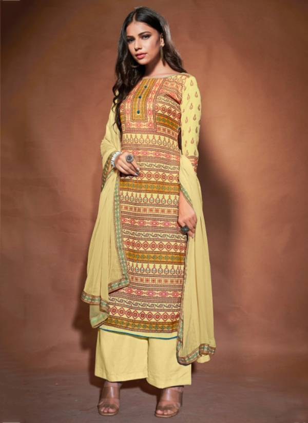 Bipson Roma Series 1021-1024 Woollen Pashmina Digital Print Office Wear Suits Collection