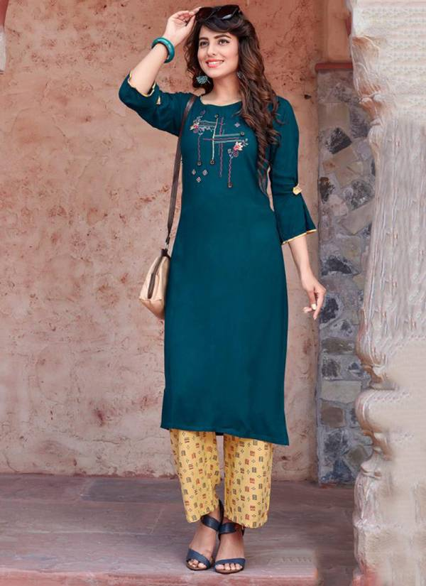 Ladies Flavour Runway Series 1001-1004 Party Wear Rayon With Embroidery Work Kurti Collection