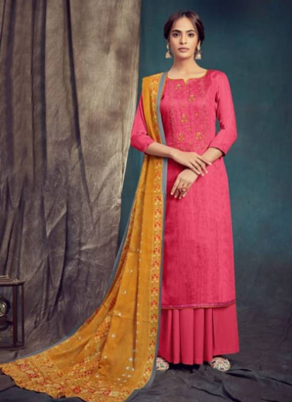 Dhaga Saanj Series 2501-2506 Pure Jam Negative Print With Fancy Embroidery Work Suits Collection