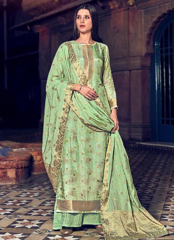 Sabya Saachi Viscose Muslin Jacquard With Digital Print And Swarovski Work Top Stylish Muslin Silk Dupatta With Superior Cotton Bottom Latste Suits Collection 509-514