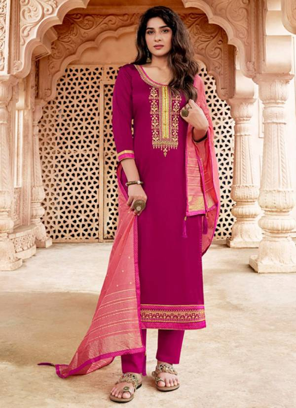 Kessi Sahenaj Series 5591-5598 Jam Silk With Embroidery & Khatli Work Stylish Look Festival Wear Salwar Suits Collection
