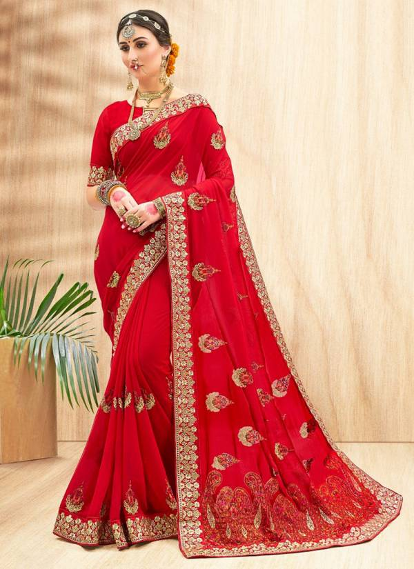 Saroj Sakhi Series 13001-13006 Georette With Heavy Embroidery Work With Heavy Pallu Party Wear Sarees Collection