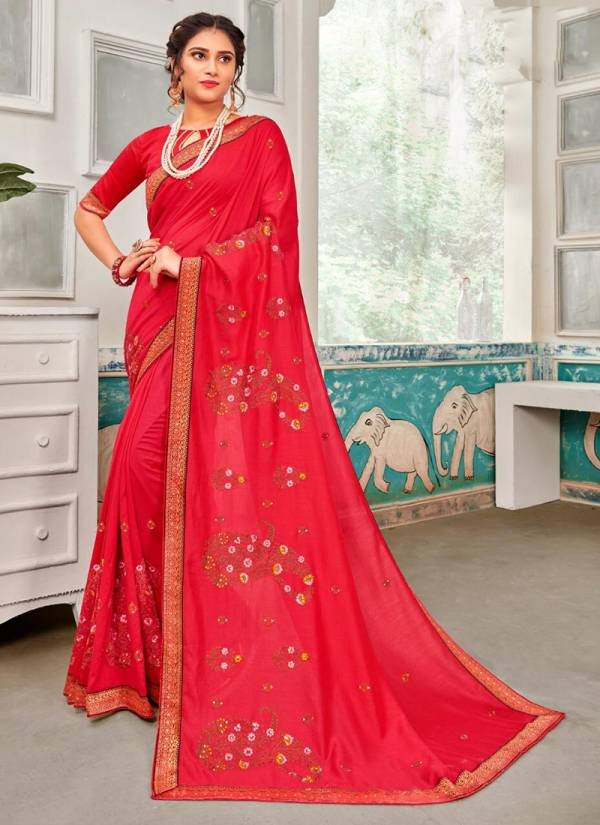 Saroj Sakhiya Series 101000-101008 Vichitra Dyed With Embroidery Work Party Wear Sarees Collection
