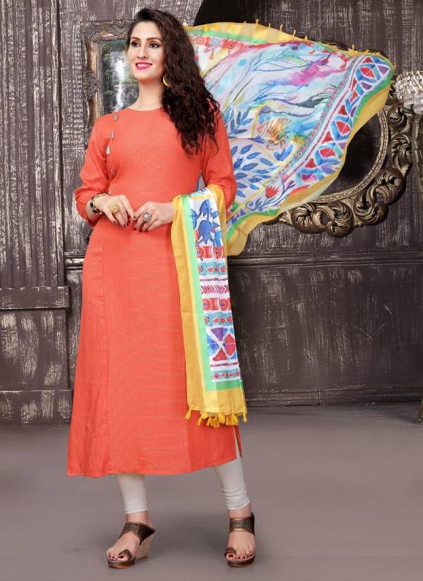 Jugnii Seher Series 1001-1006 Latest New Viscose Rayon Pattern Dyed Digital Voile Satin Stripes Fancy Kurti Collection