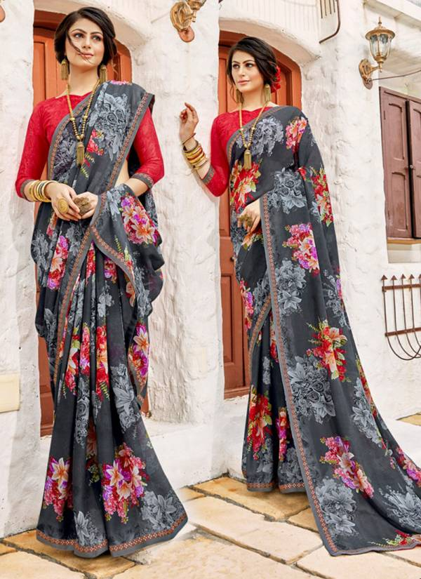 Silky Silver Vol 3 Fancy Silk Flower Printed With Lace Work Trendy Look Sarees Collection 67941-67950