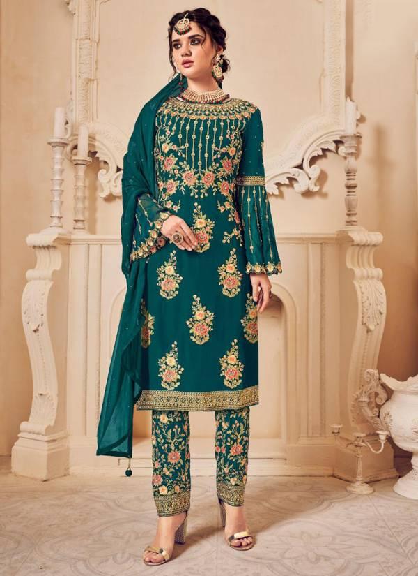Kesari Trendz Simran Vo1 Series 5005-5007 Blooming Georgette With Heavy Emboidery With Kathali Work Wedding Wear Suit Collection