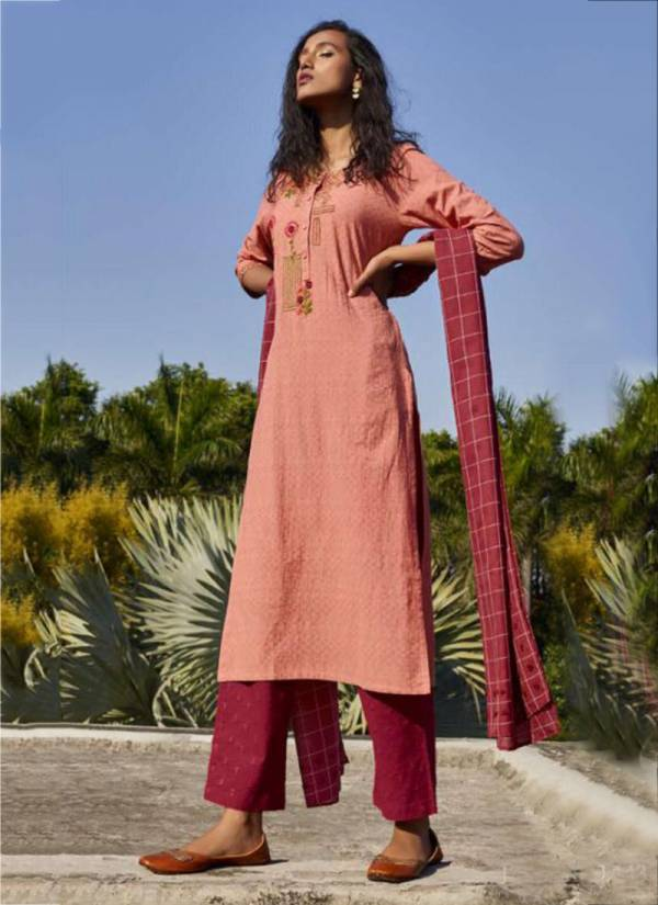 Sky Placement Embroidery Two Tone Cotton Slub Kurti,Rayon/Cotton Bottom With Weaving Dupatta Collection 1441-1446